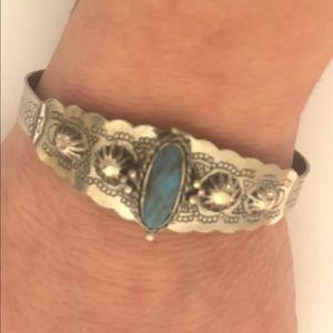 Turquoise Stone Silver Metal Cuff Bracelet